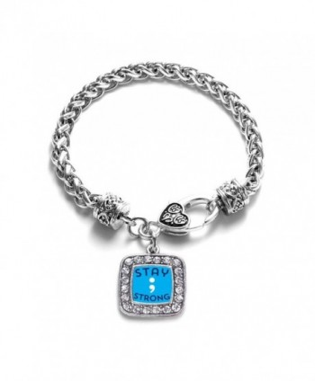 Stay Strong Semicolon Movement Classic Braided Classic Silver Plated Square Crystal Charm Bracelet - CD11XMTWIG7