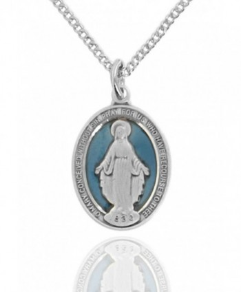 Heartland Women's Sterling Silver Oval Blue Enamel Miraculous Medal + USA Made + Pick Chain - CB1896Y62UC