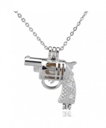 Revolver Pearl Cages- Beads Cage- Revolver Pistol Gun Locket Necklace- Open Pendant - CS1843N7XIU