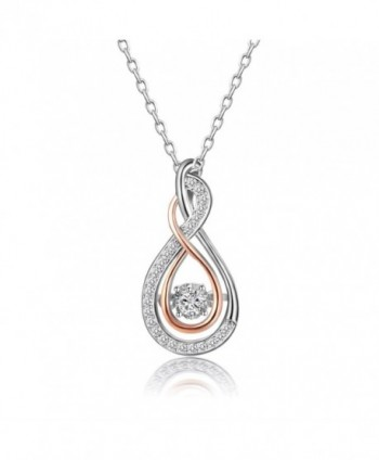 Caperci 925 Sterling Silver and Rose Gold-Tone Cubic Zirconia Layered Infinity Pendant Necklace for Women - White - CD186I8XZSK