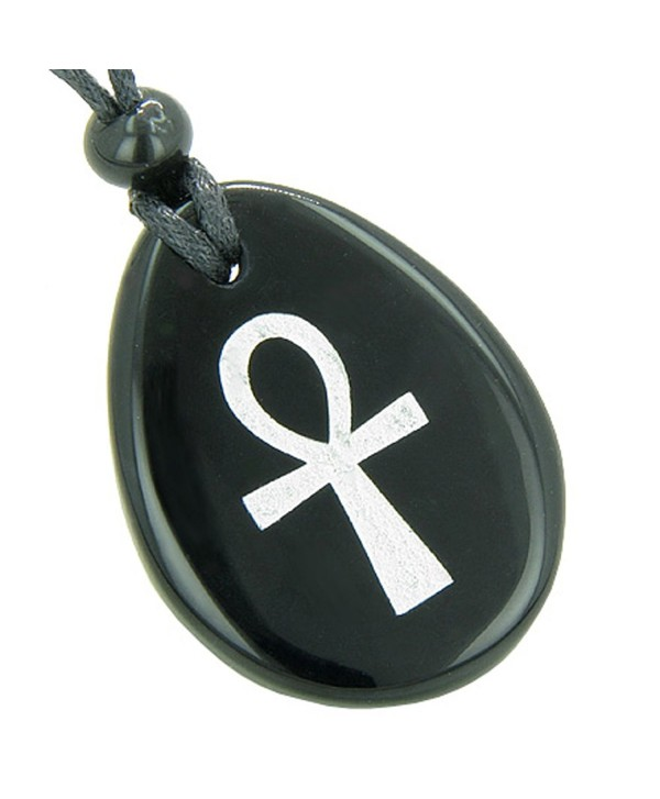 Egyptian Power of Life Spiritual Ankh Amulet Black Agate Pendant Necklace - CF11998HGML