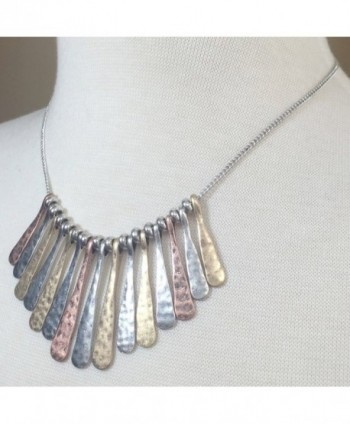 Boutique Necklace Earring Tri Tone Hammered in Women's Chain Necklaces