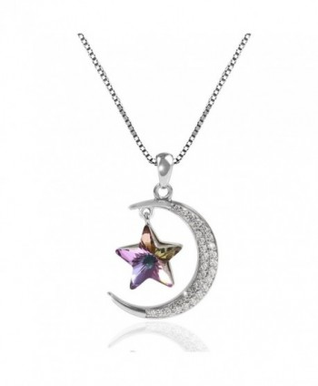 "TL Jewelry ""Moon and Star"" Sterling Silver Necklace Made with Swarovski Crystal - CK187XLQA6I"