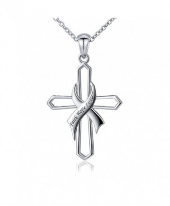 "Sterling Silver Faith Hope Love Hollow Sideway Cross Pendant Necklace- 18"" Rolo Chain - CZ1838A7Z3A"