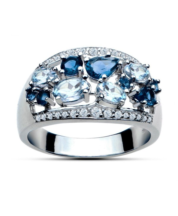 Sterling Silver 2.5ct TGW London Blue Topaz and Blue and White Topaz Tonal Band Ring - CN12IPO8ES9