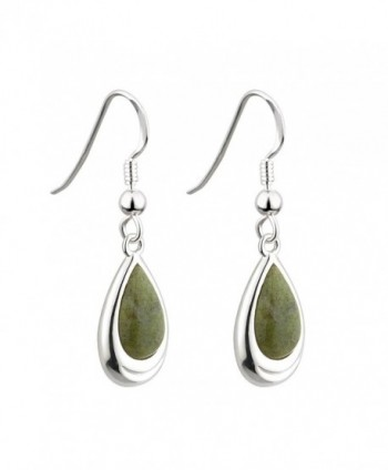 Irish Earrings Rhodium Plate Connemara Marble Drops - CD11P22R9G1
