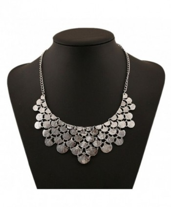 DELEY Vintage Alloy Ginkgo Leaves Collar Fashion Bib Antique Pendant Statement Necklace - Silver - CM12NERO94B