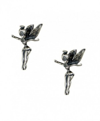 Sterling Silver Tinkerbell Pixie Fairy Post Stud Earrings - CB118B20FXD