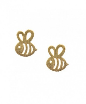 chelseachicNYC Handcrafted Brushed Metal Bumble Bee Stud Earrings - C712H6X0HUX