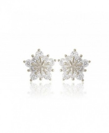 Ladies Crystal Snow Flake Star Stud Earrings For Women Earring - Silver - C0187AOWOXD