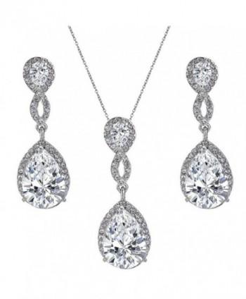 EVER FAITH Wedding 8-Shape Zircon Jewelry Set Austrian Crystal - Clear Silver-Tone - CW11J2EUXEF