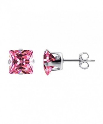 Gem Avenue 925 Sterling Silver 4mm Square Pink Cubic Zirconia Post Back Stud Earrings - C01124HJDI9