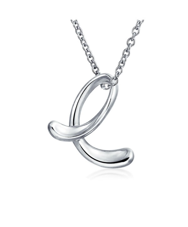 Bling Jewelry Sterling Silver Letter E Script Initial Pendant Necklace 18 inches - CM114G1QAEF