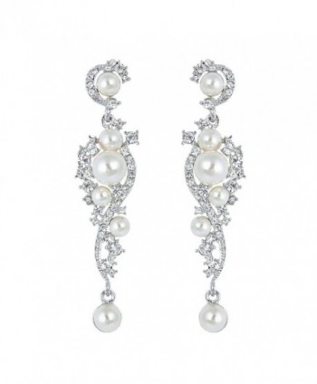 EVER FAITH Women's Austrian Crystal Cream Simulated Pearl Bridal Vine Dangle Earrings Clear - Silver-Tone - CZ11SCFBLOL