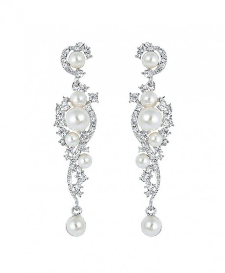 EVER FAITH Women's Austrian Crystal Cream Simulated Pearl Bridal Vine Dangle Earrings Clear - Silver-Tone - CZ11SCFBLOL