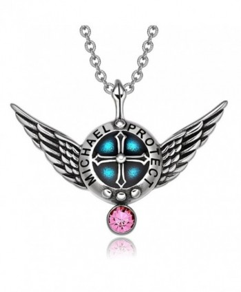 Archangel Michael Angel Wings Protection Shield Magic Powers Charm Pink Crystal Pendant 18 inch Necklace - CQ129PJNXAB