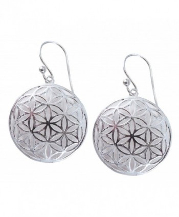 Flower of Life Sterling Silver Sacred Geometry Earrings - CL11QNGFUP7