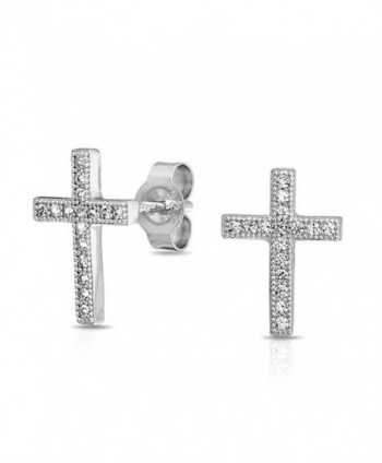Micropave .925 Silver Micropave CZ Petite Cross Stud Earrings - CJ11BP0CJ5F