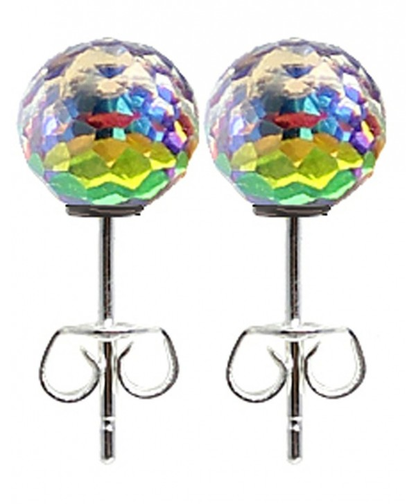 Silver plated round disco ball earrings with crystal - Aurora - CN17YGNH0X9