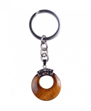 ZHEPIN Crescent moon Alloy luck Gemstone Pendant Silver Toned Key Chain Keyring - Tiger eye - CH1836A4844