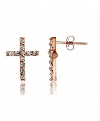 Sterling Silver Christian White CZ Cubic Zirconia Cross Stud Earrings- One Pair Set - C112O0VU6X4