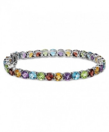 14K White Gold Plated Gemstone CZ Round-Cut Tennis Bracelet - Multi Gem - CT183OHNAE7