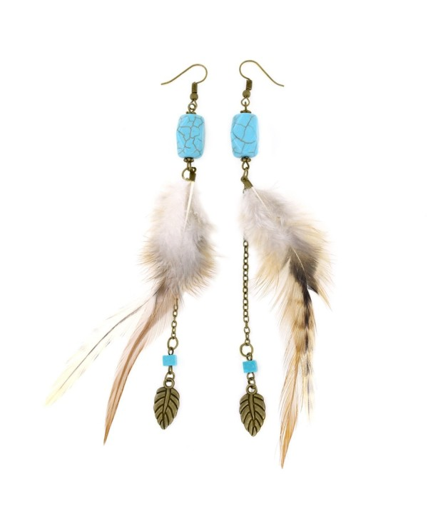 Women's Vintage Long Feather Earrings with Turquoise Bead and Dangle Chain Accent - CL184X9W768