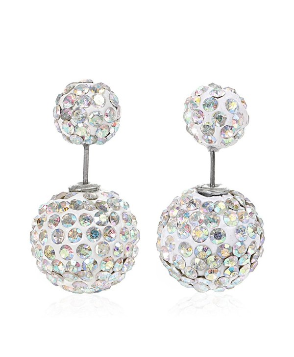 Sexy Sparkles Clay Earrings Double Sided Ear Studs Round Pave Rhinestone W/ Stoppers - AB - CI12G75L863