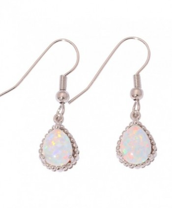 "CiNily Created White Fire Opal Rhodium Plated for Women Jewelry Gemstone Dangle Earrings 1 1/4"" - CL183UZ6HUQ"