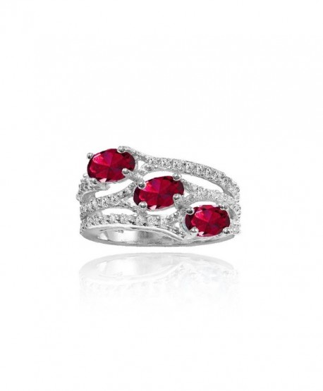 Sterling Silver Created Ruby and White Topaz Oval Three Stone Ring - C2184WARKN2
