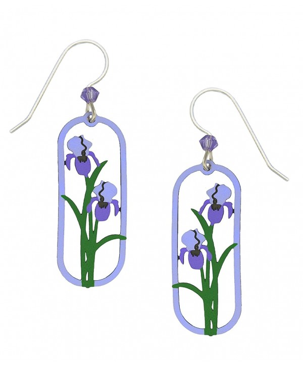 Sienna Sky Two Tone Purple Iris Framed Flower Earrings with Gift Box Made in USA - C41834H5ZHS