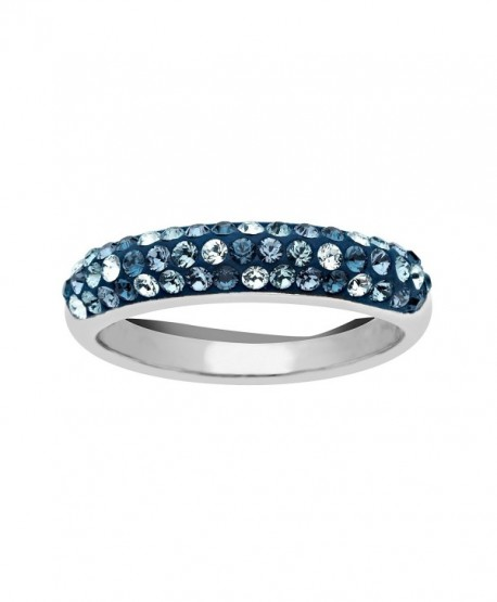 Crystaluxe Ring with Light Azure- Denim Blue- Indian Blue- and Montana Swarovski Crystals in Sterling Silver - CL11TAGJ1E7