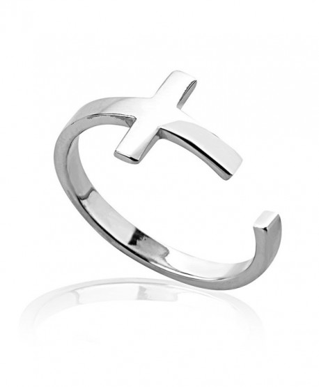 925 Sterling Silver Modern Sideways Simple Lines Christian Cross Unisex Wrap Around Band Ring - CT11LSIDIC7