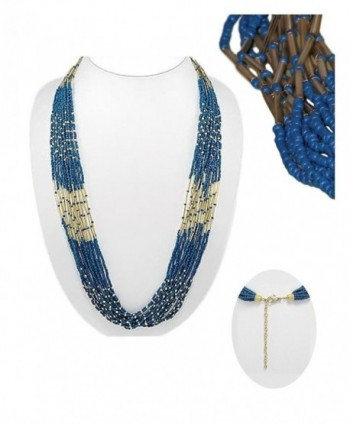 """Teal Blue and Gold Beaded Necklace 40"""" Extra Long (168) - CZ184U2NNK5"""