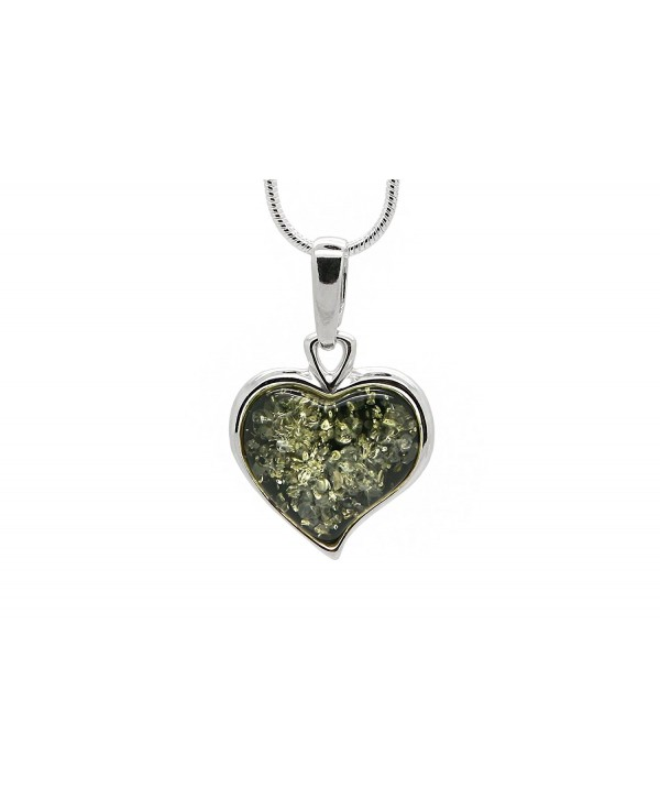 925 Sterling Silver Heart Pendant Necklace with Genuine Natural Baltic Amber. Chain included - Green - C817YT29E3Q