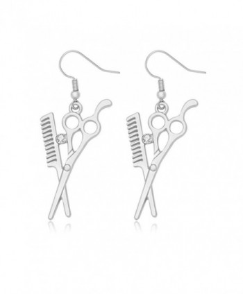 MANZHEN Fashion Scissors and Comb Dangle Earrings Perfect Gift for Hairdresser - silver - CE184S8X95T