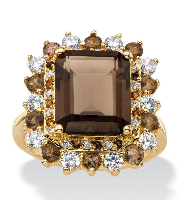 Emerald-Cut Genuine Smoky Topaz and CZ Accent 14k Gold-Plated Halo Cocktail Ring - CL12O6RIF21