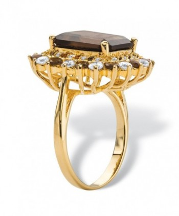 Emerald Cut Genuine Accent Gold Plated Cocktail