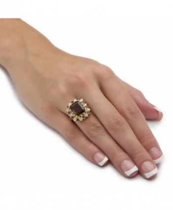 Emerald Cut Genuine Accent Gold Plated Cocktail in Women's Statement Rings