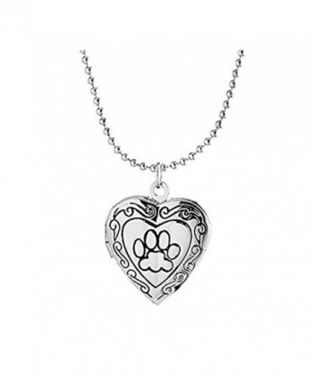 IDB Silver Tone Rememberance Animal Dog Paw Print Photo Frame Heart Locket Necklace - CW12O0ISS3Z