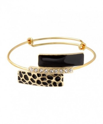 SENFAI New Style Leopard Print Sexy Bangles Exquisite Carving Gold Plated Bangle Bracelets for Women - C812E3FOVOZ