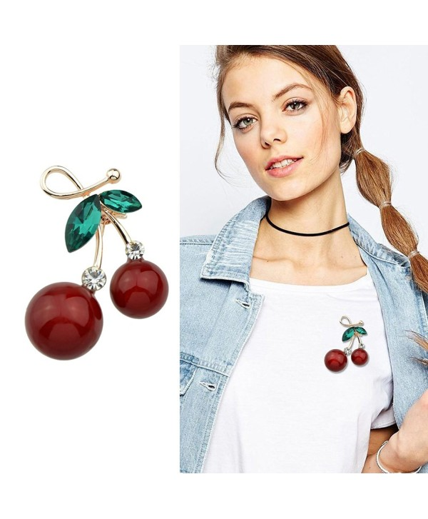 Fashion Sexy Red Cherry Gold Tone Brooches With Green Crystal For Lady and Girls Jewelry Accessories - C8188OARS5D