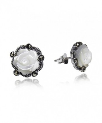 Carved Rose Mother of Pearl and Marcasite Style Pyrite .925 Sterling Silver Stud Earrings - CR11KH93EBD