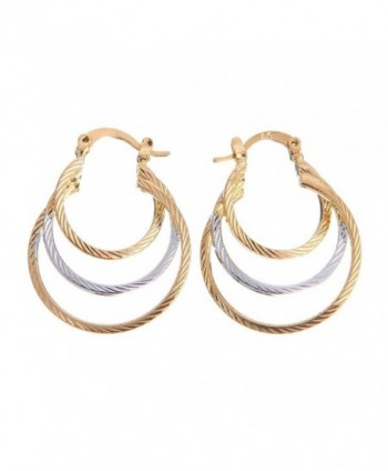 Followmoon 18K Gold Plated Women's Hoop Earrings - CF12C04BWHF