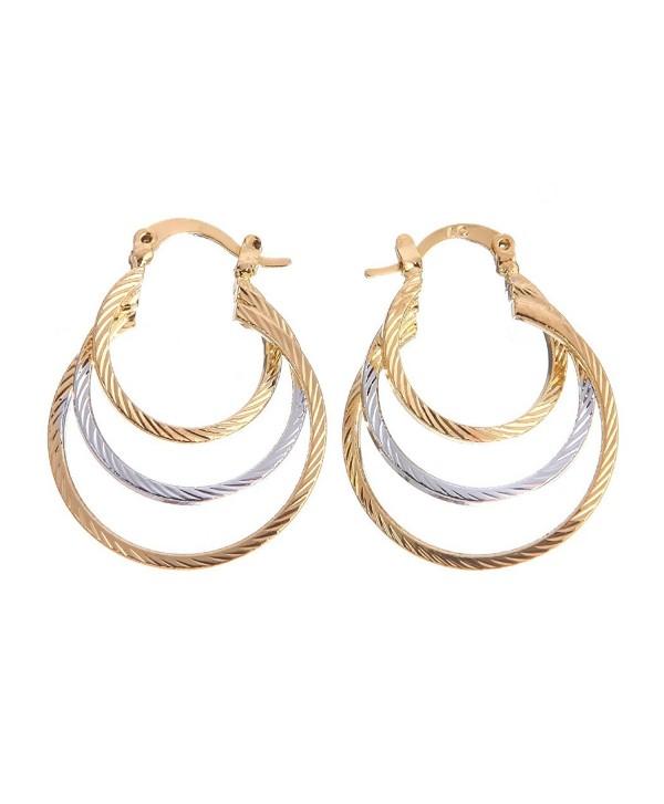 Followmoon 18K Gold Plated Women's Hoop Earrings - CF12C04BWHF