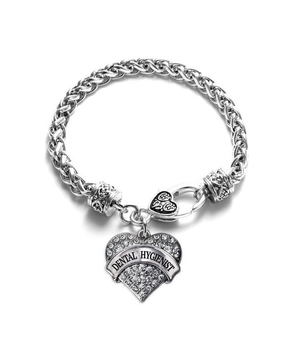 Inspired Silver Dental Hygienist Pave Heart Charm Bracelet - CA12F652SOB