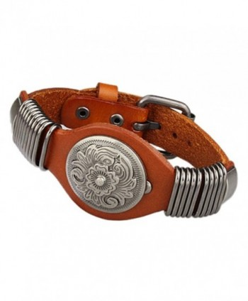 Jenia Flower Genuine Leather Cuff Wrap Bangle Bracelets Adjustable Men's Women's Jewelry - Orange - CL12I2X0N0Z