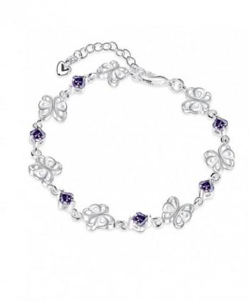 BUYBUYMALL Fashion Beautiful Silver Hollow Butterfly Amethyst Bracelet for Women - C212EACRY3F