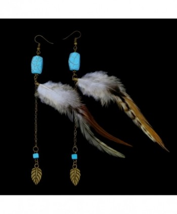 Womens Vintage Feather Earrings Turquoise
