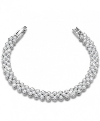"NINASUN ""Snow White"" 925 Sterling Silver Heart Design Tennis Bracelet AAA CZ Fine Jewelry for Women 7 Inch - CB180IDNZLR"